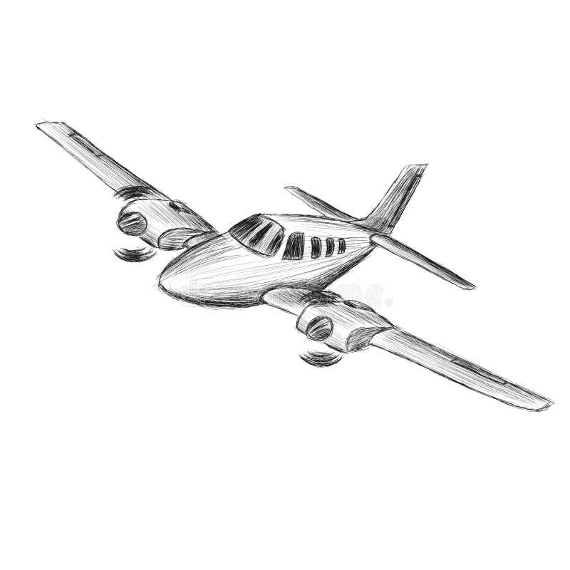 Pequeño bosquejo del vector plano Aviones propulsados motor gemelo dibujados mano El aire viaja a la silueta del wehicle ilustración del vector