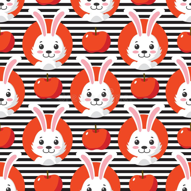 Pequeño Bunny Striped Seamless Pattern lindo libre illustration