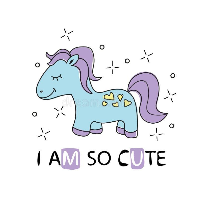 Pequeño caballo de la historieta linda con el pelo púrpura impresión de niña de la camiseta del vector stock de ilustración