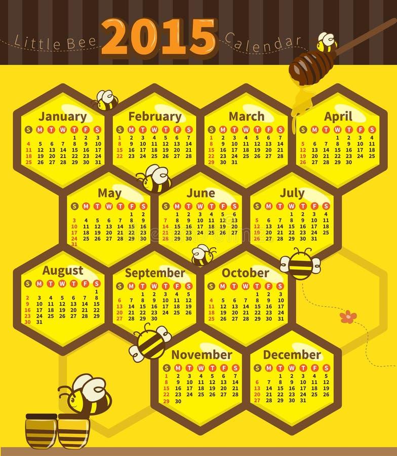 Pequeño calendario 2015 de la abeja ilustración del vector