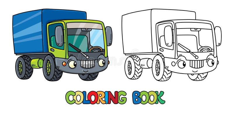 Pequeño camión divertido con los ojos Libro de colorante stock de ilustración