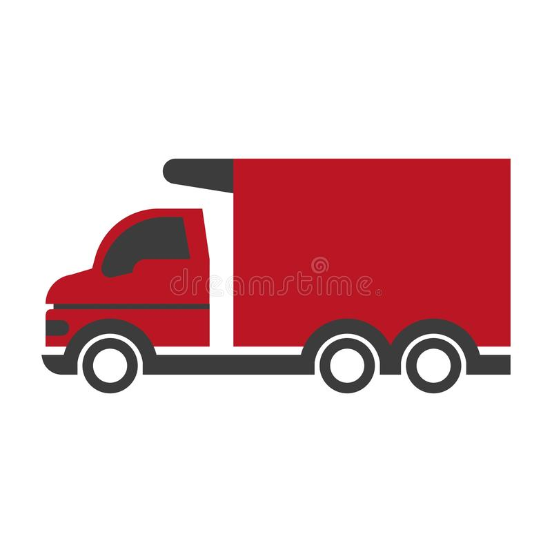 Pequeño camión rojo stock de ilustración