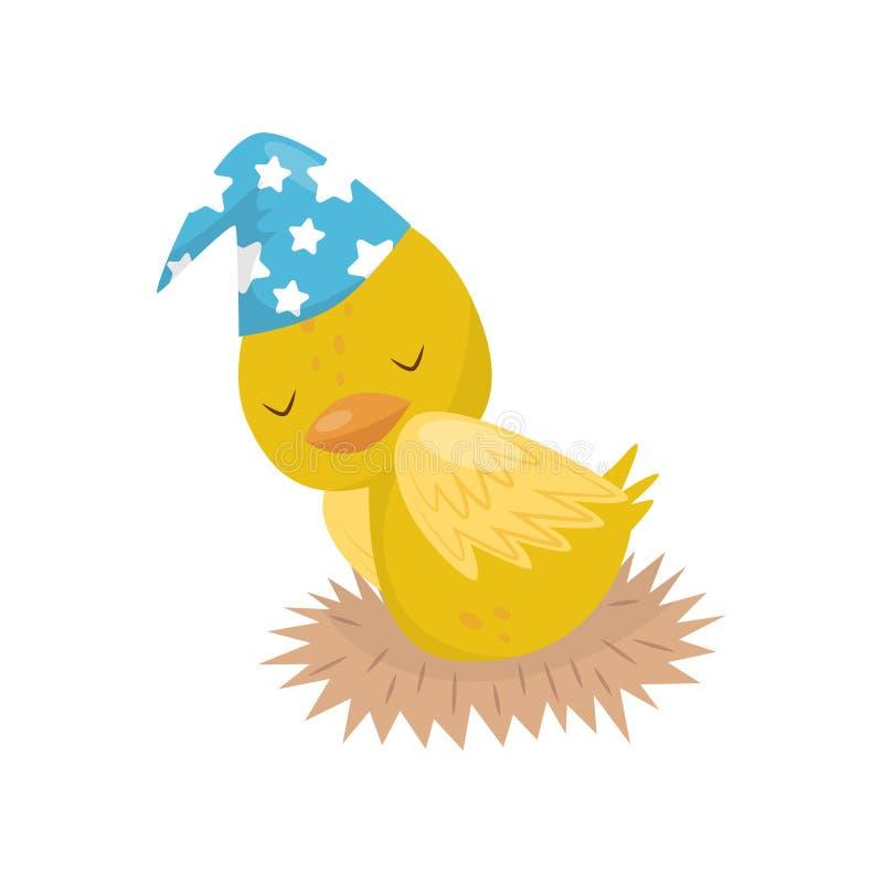 Pequeño carácter amarillo lindo del anadón en sombrero azul que duerme en el ejemplo del vector de la jerarquía en un fondo blanc libre illustration