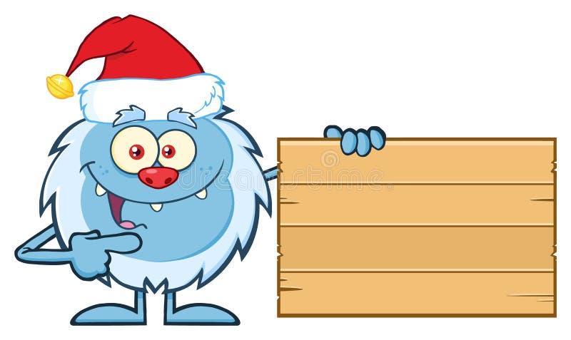 Pequeño carácter feliz de la mascota de la historieta del yeti con Santa Hat Pointing To una muestra en blanco de madera ilustración del vector