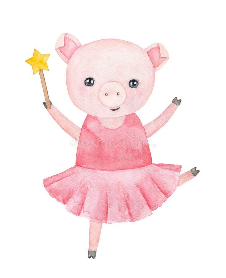 Pequeño carácter guarro sonriente en vestido rosado en colores pastel del tutú stock de ilustración
