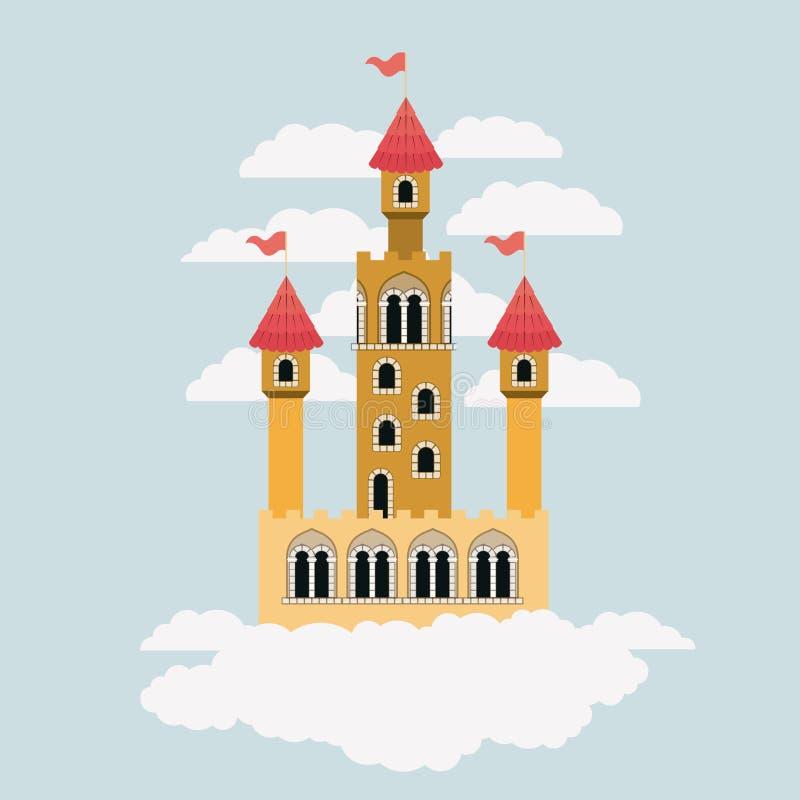 Pequeño castillo amarillo de cuentos de hadas en el cielo rodeado por las nubes en silueta colorida ilustración del vector