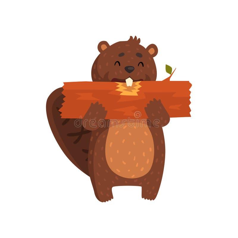 Pequeño castor feliz que come el pedazo de madera Personaje de dibujos animados libre illustration