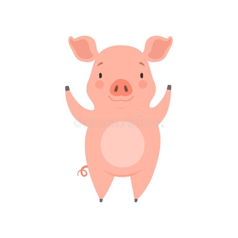 Pequeño cerdo alegre lindo, ejemplo divertido del vector del personaje de dibujos animados del cochinillo en un fondo blanco ilustración del vector