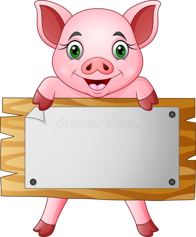 Pequeño cerdo de la historieta que lleva a cabo al tablero en blanco ilustración del vector