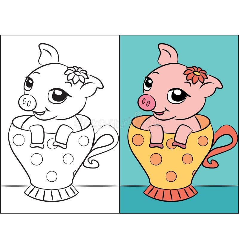 Pequeño cerdo en taza, libro de colorear o página de té stock de ilustración