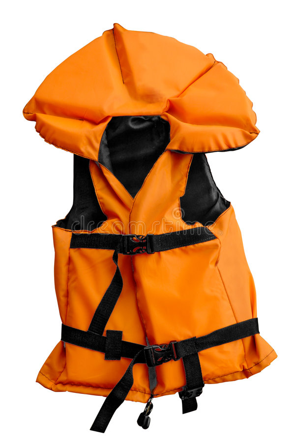 Pequeño chaleco de vida anaranjado aislado fotografía de archivo
