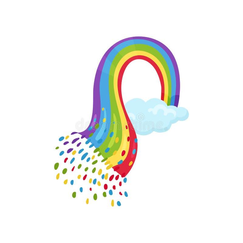 Pequeño cielo azul con el arco iris multicolor Vector plano para la tarjeta de felicitación, la decoración de la pared o el libro ilustración del vector
