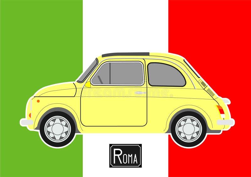 Pequeño coche amarillo stock de ilustración