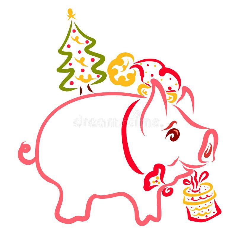 Pequeño cochinillo festivo con un regalo y un árbol de navidad en los vagos libre illustration