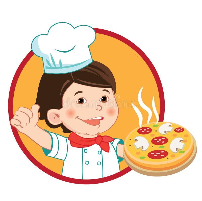 Pequeño cocinero con la pizza Ejemplo del vector en un b blanco ilustración del vector