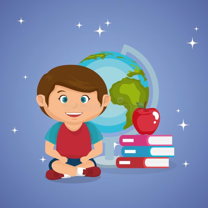 Pequeño colegial con el planeta del mundo ilustración del vector
