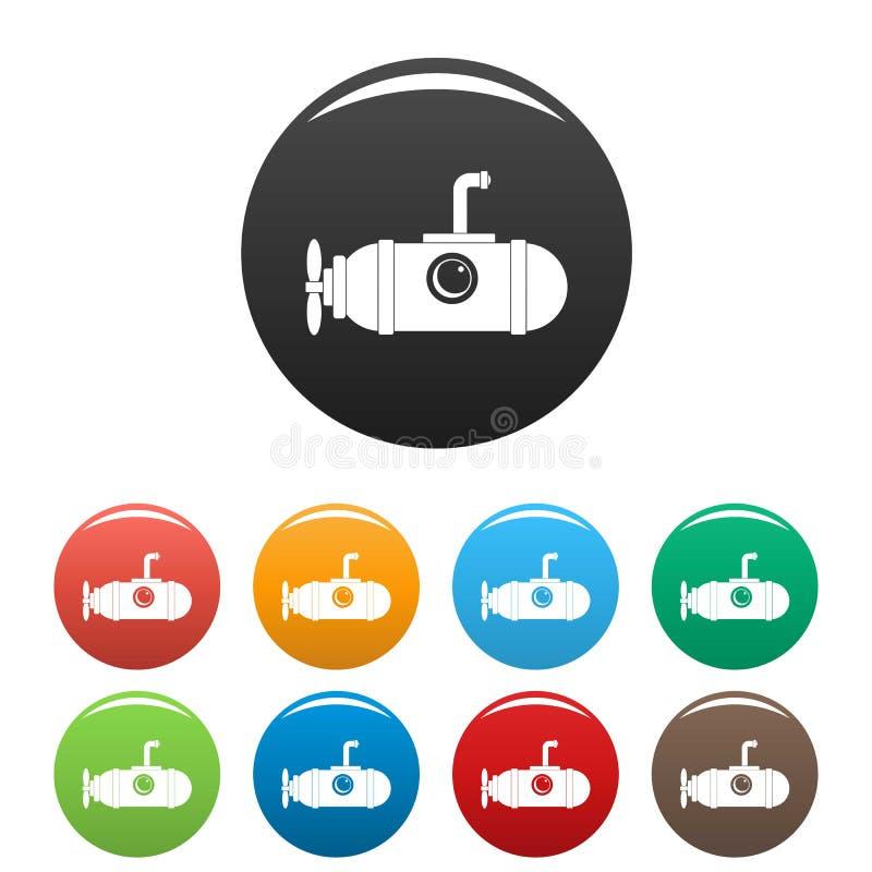 Pequeño color submarino del sistema de los iconos ilustración del vector