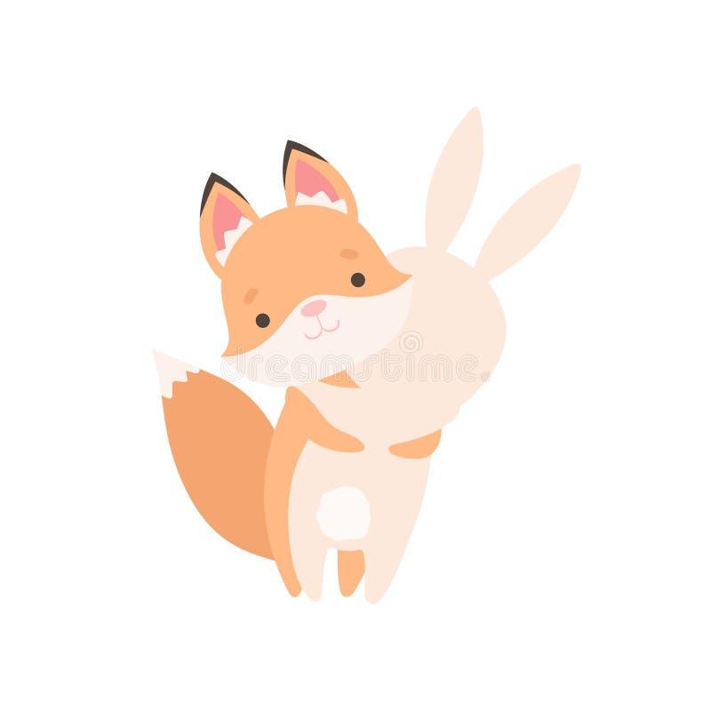Pequeño conejito blanco precioso y Fox abrazo de Cub, mejores amigos lindos, conejo adorable y vector de los personajes de dibujo stock de ilustración