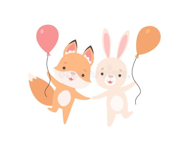 Pequeño conejito blanco precioso y Fox Cub con los globos, los mejores amigos lindos, el conejo adorable y los personajes de dibu ilustración del vector