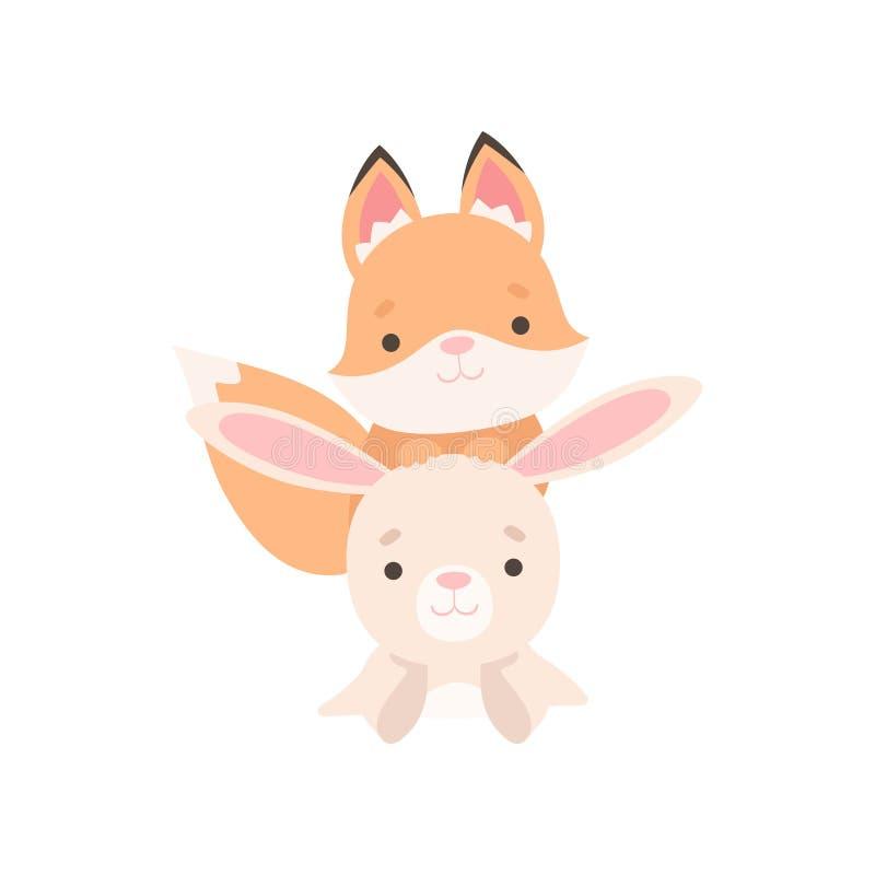 Pequeño conejito blanco precioso y Fox Cub, mejores amigos lindos, conejo adorable y ejemplo del vector de los personajes de dibu stock de ilustración