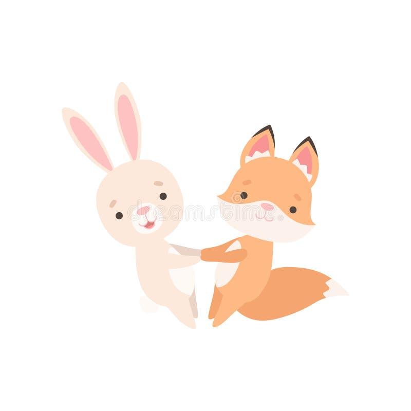 Pequeño conejito blanco precioso y Fox Cub, mejores amigos lindos que se divierten junto, conejo y personajes de dibujos animados ilustración del vector