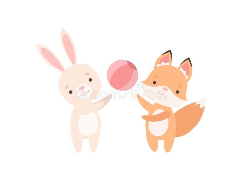Pequeño conejito blanco precioso y Fox Cub que juega con la bola, los mejores amigos lindos, el conejo adorable y los personajes  stock de ilustración