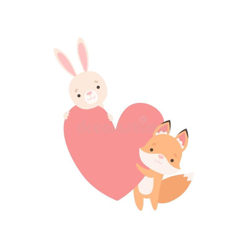 Pequeño conejito blanco precioso y Fox Cub que lleva a cabo el corazón rojo grande, mejores amigos lindos, el conejo adorable y l stock de ilustración