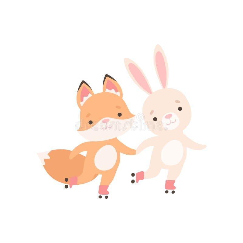 Pequeño conejito blanco precioso y Fox Cub que lleva a cabo las manos y Rollerblading, mejores amigos lindos, conejo adorable y p ilustración del vector
