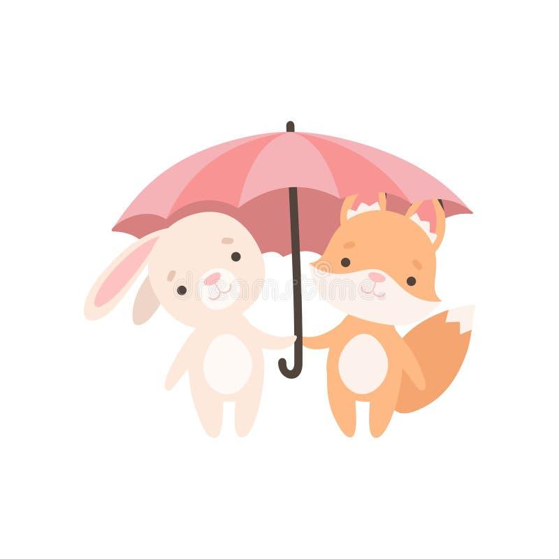 Pequeño conejito blanco precioso y Fox Cub que se coloca bajo el paraguas, mejores amigos lindos, conejo adorable e historieta de stock de ilustración