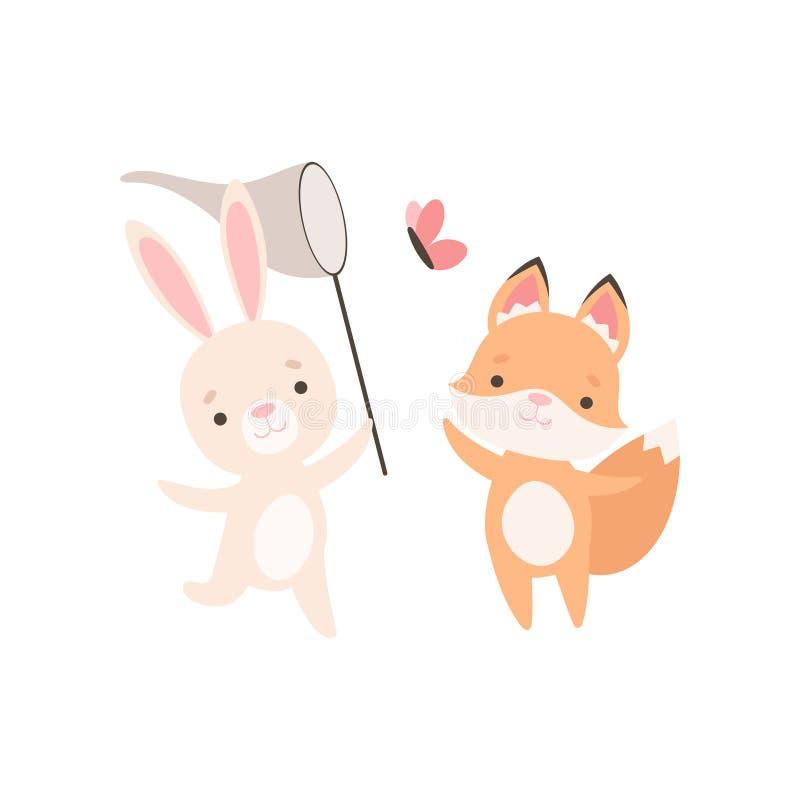 Pequeño conejito blanco precioso y mariposas de cogida del Fox Cub con la red, los mejores amigos lindos, el conejo adorable y la stock de ilustración