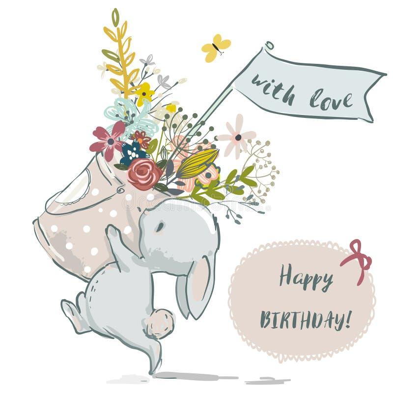 Pequeño conejito lindo con la guirnalda de la flor ilustración del vector