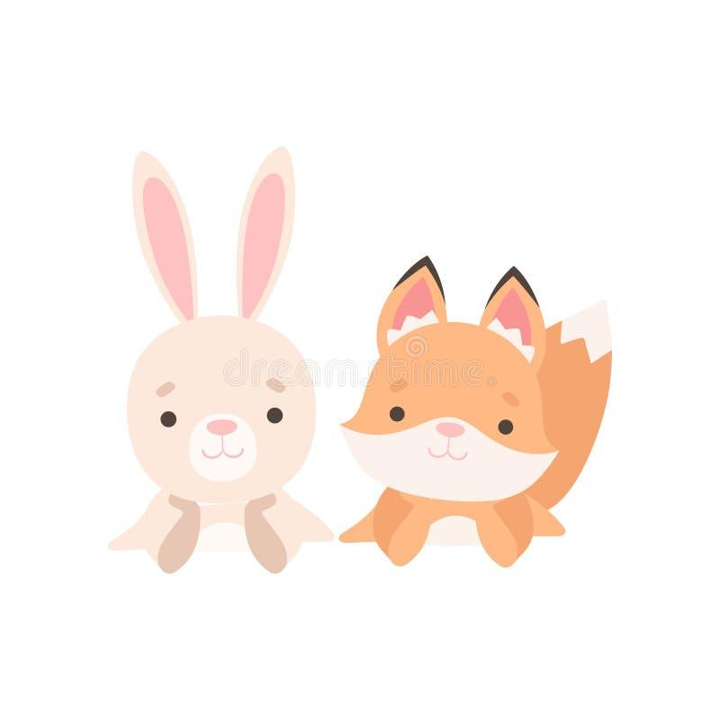 Pequeño conejito precioso y mejores amigos del Fox Cub, conejo adorable y ejemplo del vector de los personajes de dibujos animado stock de ilustración