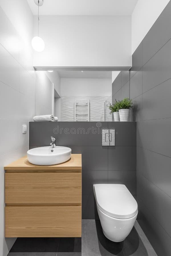 Pequeño cuarto de baño gris y blanco fotos de archivo