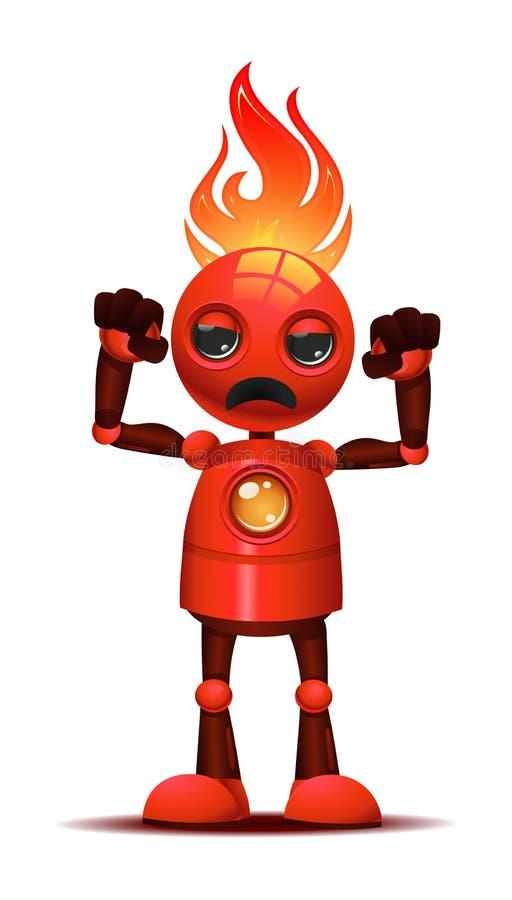 pequeño culturista del robot muy enojado en modo furioso ilustración del vector