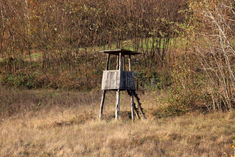 Pequeño de madera del vintage dilapidó cazando la torre de observación con las escaleras improvisadas rodeadas con la alta hierba fotos de archivo