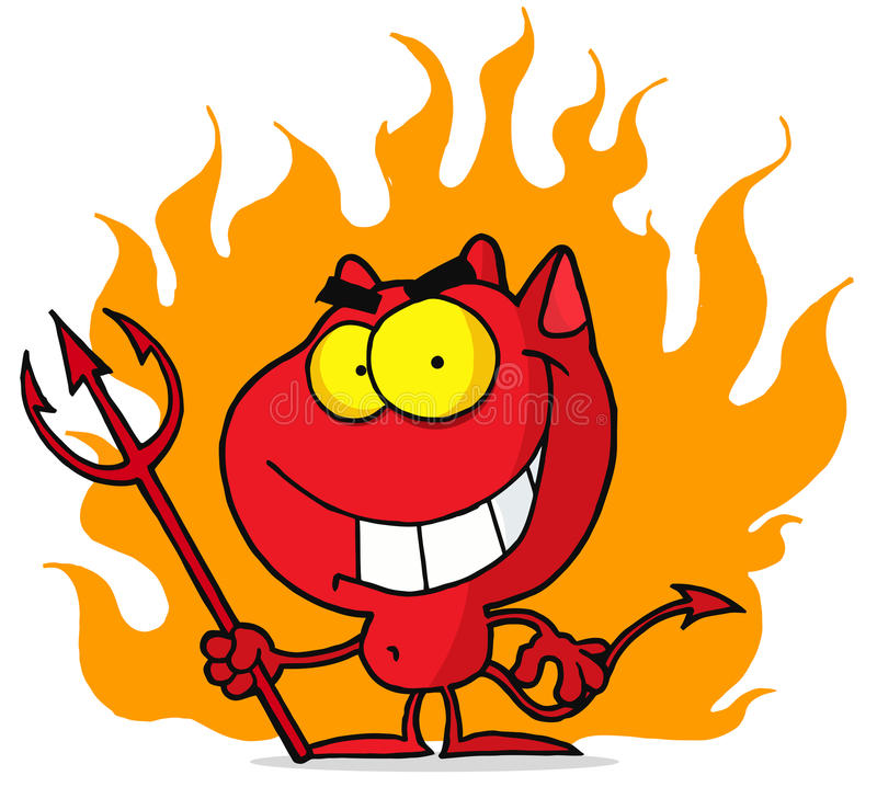 Pequeño diablo con el pitchfork en llamas ilustración del vector