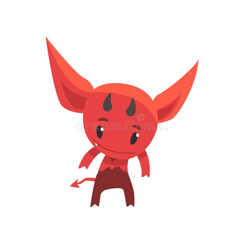 Pequeño diablo divertido que muestra sus cuernos Carácter ficticio del monstruo de la historieta del infierno ilustración del vector
