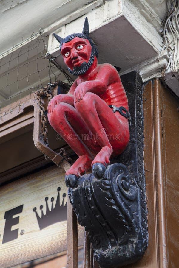 Pequeño diablo en Stonegate en York imagen de archivo