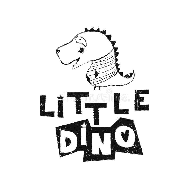 Pequeño Dino Cartel dibujado mano de la tipografía del estilo ilustración del vector
