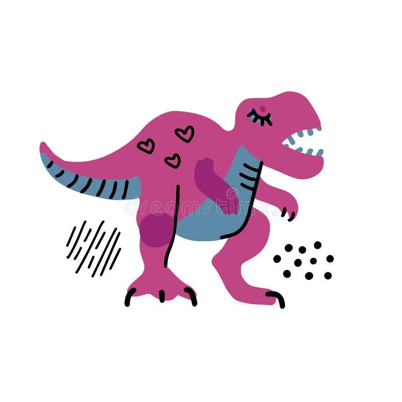 Pequeño dinosaurio de la historieta Carácter exhausto del vector de Dino de la mano linda del color Clipart handdrawn plano de T- ilustración del vector