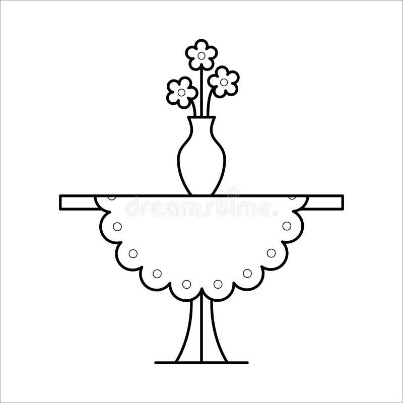 Pequeño diseño del lineart de los muebles del hogar de la tabla, concepto interior ilustración del vector
