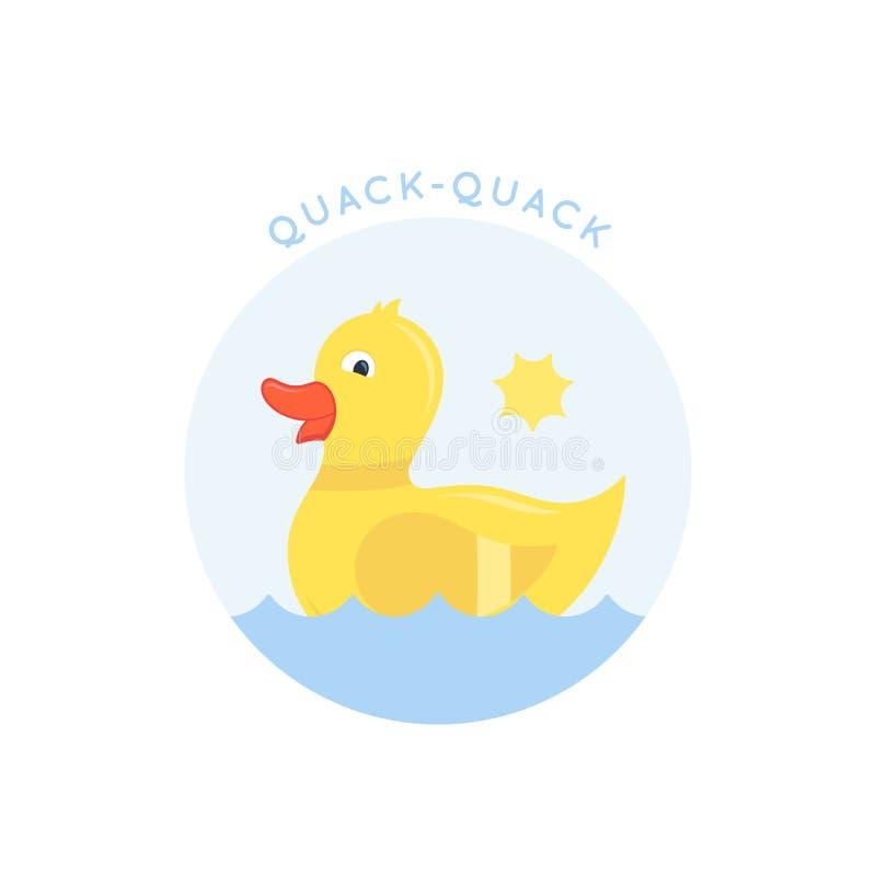Pequeño Duck Abstract Vector Sign que nada, emblema o Logo Template Ejemplo Ducky lindo del estilo plano Bueno para la ropa ilustración del vector