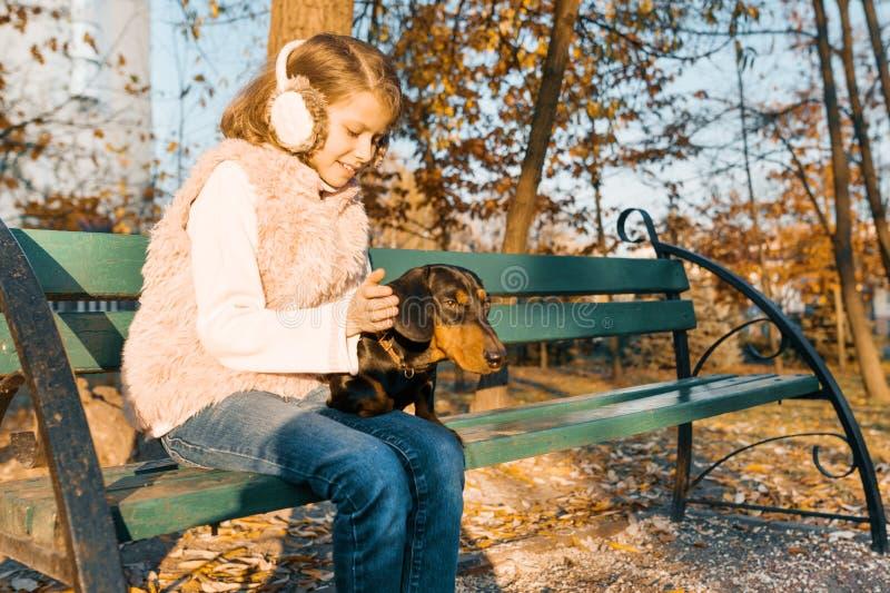 Pequeño dueño sonriente de un perro basset que se sienta en banco en el parque del otoño, muchacha con el amor que abraza el perr fotografía de archivo