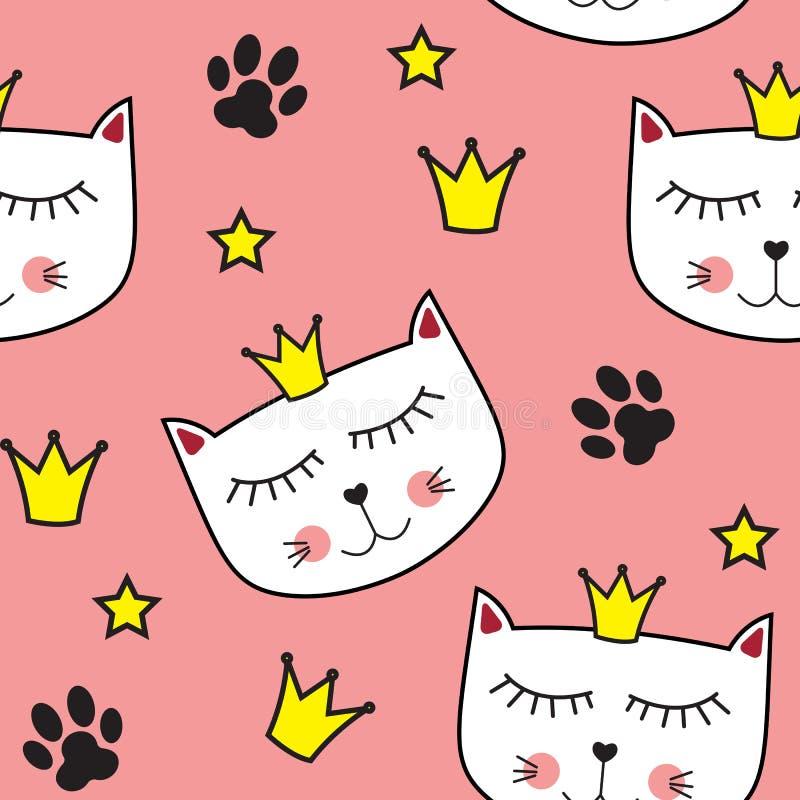 Pequeño ejemplo lindo del vector de Cat Princess Seamless Pattern Background ilustración del vector