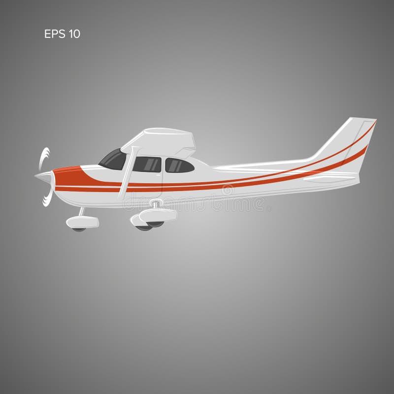 Pequeño ejemplo privado del vector plano Aviones propulsados del solo motor Ilustración del vector icono Sideview ilustración del vector
