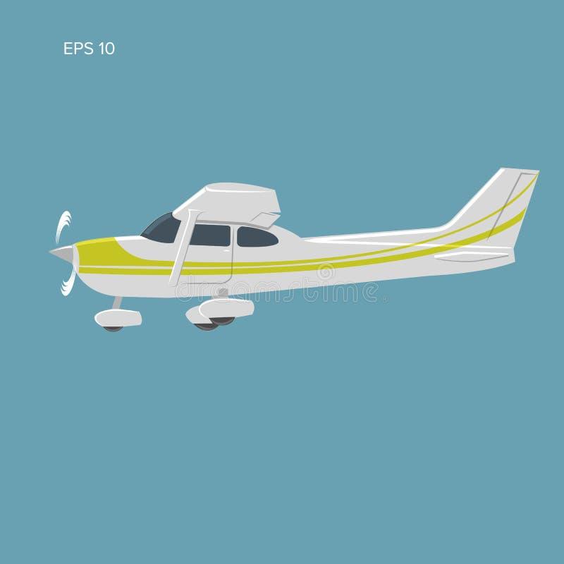Pequeño ejemplo privado del vector plano Aviones propulsados del solo motor Ilustración del vector icono Sideview libre illustration