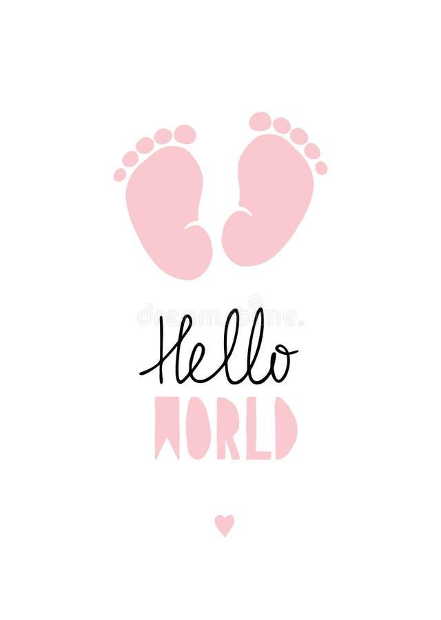 Pequeño ejemplo rosado del vector de los pies del bebé ilustración del vector