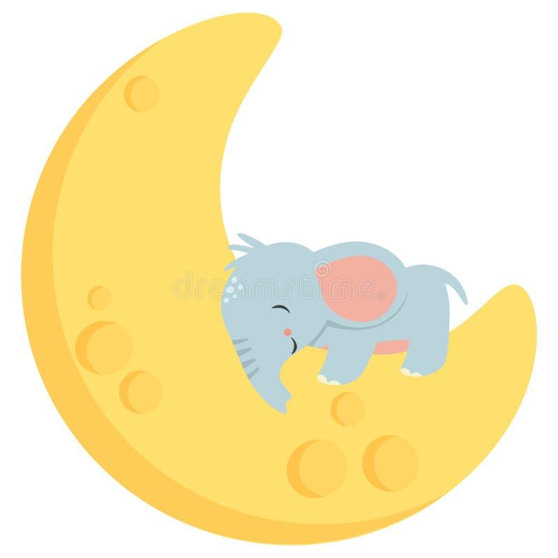 Pequeño elefante lindo del bebé que duerme en el ejemplo del vector de Crescent Moon Kawaii Style Flat aislado en blanco ilustración del vector