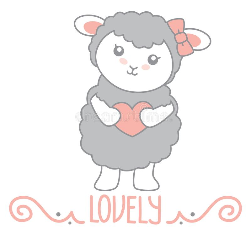 Pequeño estilo precioso Gray Sheep Standing de Kawaii y corazón el sostenerse con la decoración del remolino y el aislante precio libre illustration