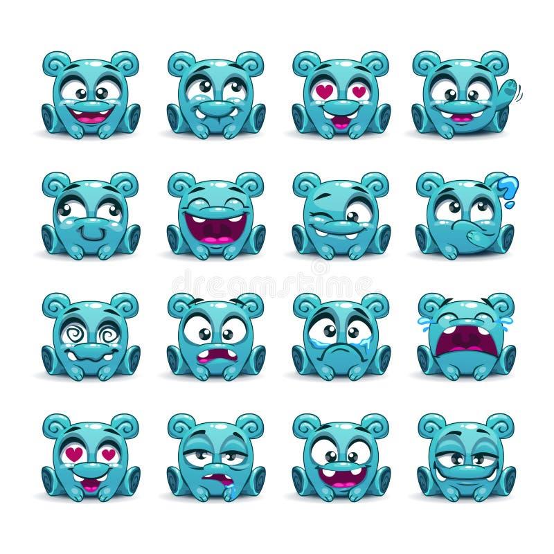 Pequeño extranjero azul divertido lindo con diversas emociones ilustración del vector